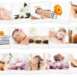 Montage of beautiful women relaxing — Stock Photo