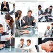 Collage of businesspeople in different situations — Stock Photo #10601240