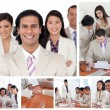 Collage of smiling businesspeople in different situations — Stock Photo