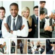 Collage of happy businesspeople in different situations — Stock Photo
