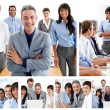 Collage of glad businesspeople in different situations — Stock Photo #10601246