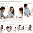 Collage of businesspeople working together - 图库照片