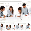 Collage of businesspeople working together — Stockfoto