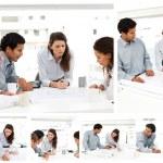 colagem de empresários trabalhando juntos — Foto Stock