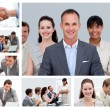 Collage of businesspeople in different situations — Stockfoto