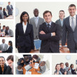 Collage of businesspeople posing in different situations — Stock Photo #10601256