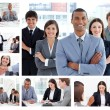 Collage of businesspeople in many situations — Stock Photo