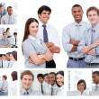 Collage of businesspeople in several situations — Stock Photo