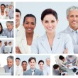 Collage of middle-aged businesspeople in different situations — Stock Photo