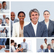 Collage of businesspeople in different situations — Stock Photo #10601267