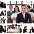 Collage of young businesspeople in different situations — Stock Photo #10601269