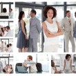 Collage of businesspeople in different situations — Stock Photo
