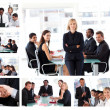 Collage of businesspeople in different situations posing — Stock Photo #10601276