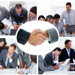 Collage of businesspeople working together — ストック写真
