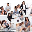 Collage of businesspeople in different situations — Stock Photo #10601281