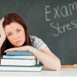 Young student stressed by her examinations — Stock Photo
