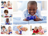 Collage of children playing video games — ストック写真