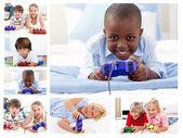 Koláž dětí hraje video hry — Stock fotografie