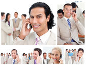 Collage of business using telephones — Stock Photo