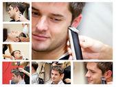 一个年轻人在理发师的拼贴画 — 图库照片