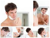 一名年轻男子剃须的抽象拼贴画 — 图库照片