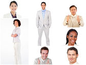 Collage of smilling business — Stock Photo