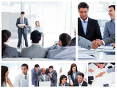 Collage of business communicating — 图库照片