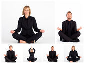 Collage of business practicing yoga — Stock Photo