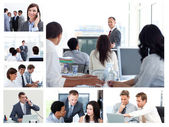 Kolaż firmy za pomocą technologii — Zdjęcie stockowe