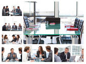 Collage of business meetings — Stock Photo
