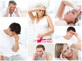 Collage van zieken — Stockfoto