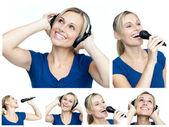 коллаж молодая женщина listining музыку и пение — Стоковое фото
