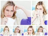 Collage d'une jeune femme malade — Photo