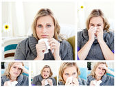 Collage of a woman having a cold — Stock Photo