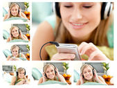 Collage of a cute woman listening to music — Stock Photo