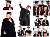 Collage of students graduating — Stock Photo