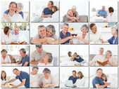 Collage of elderly couples hugging and relaxing — Zdjęcie stockowe