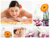 Collage of a beautiful woman relaxing while receiving a massage — Stock Photo