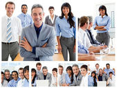 Collage of glad businesspeople in different situations — Stock Photo