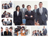 Collage of businesspeople posing in different situations — Stock Photo