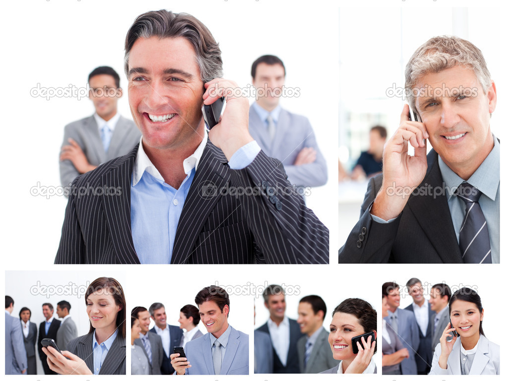 Collage of business using mobil phones — Stock Photo #10600028