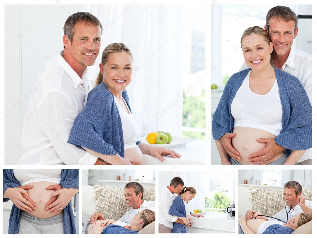 Collage of a pregnant couple indoors — Stock Photo #10600064