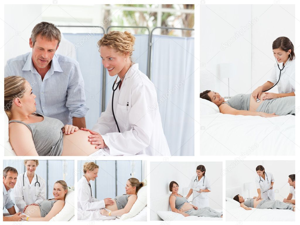 Collage of a pregnant couple with the doctor — Stock Photo #10600066