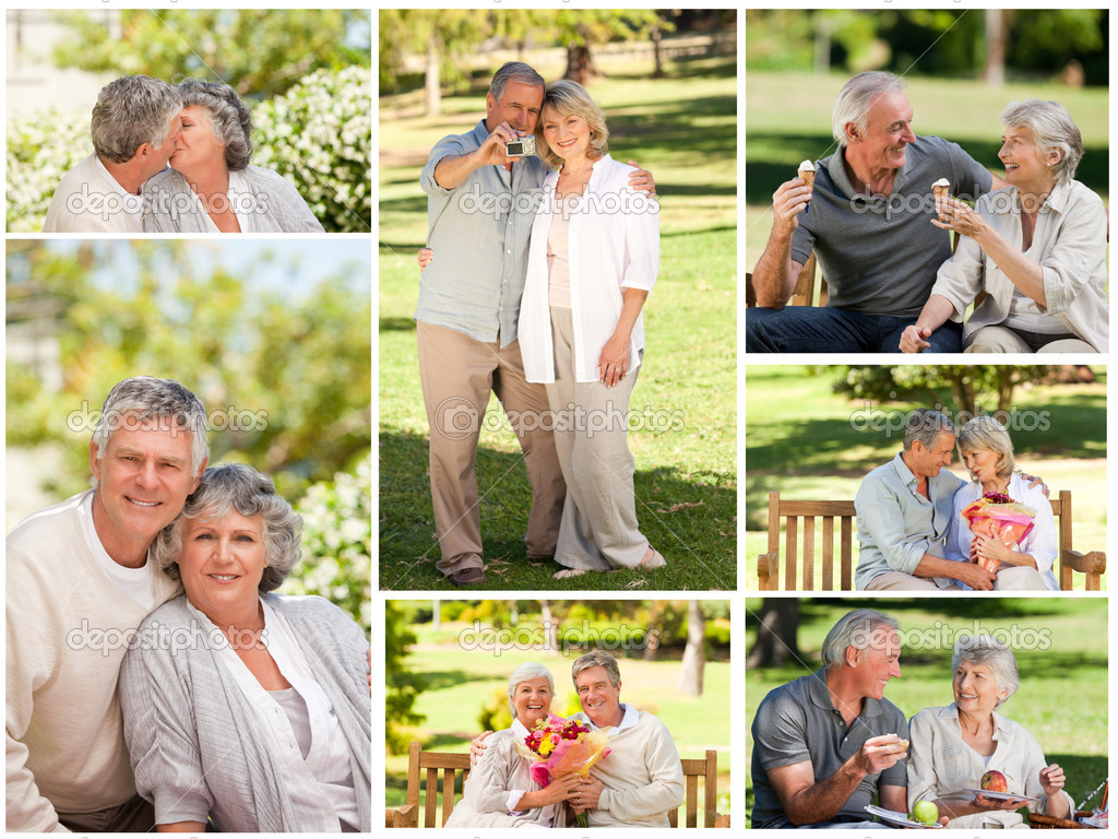 Collage of a mature couple in a park — Stock Photo #10600068