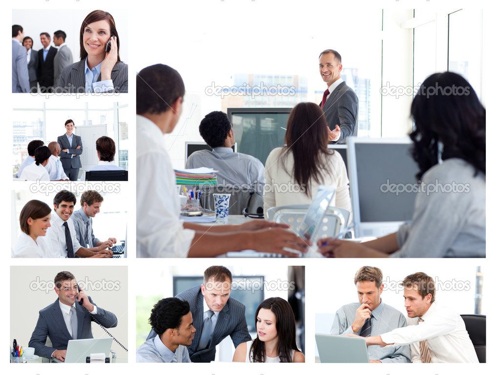 Collage of business using technology — Stock Photo #10600181