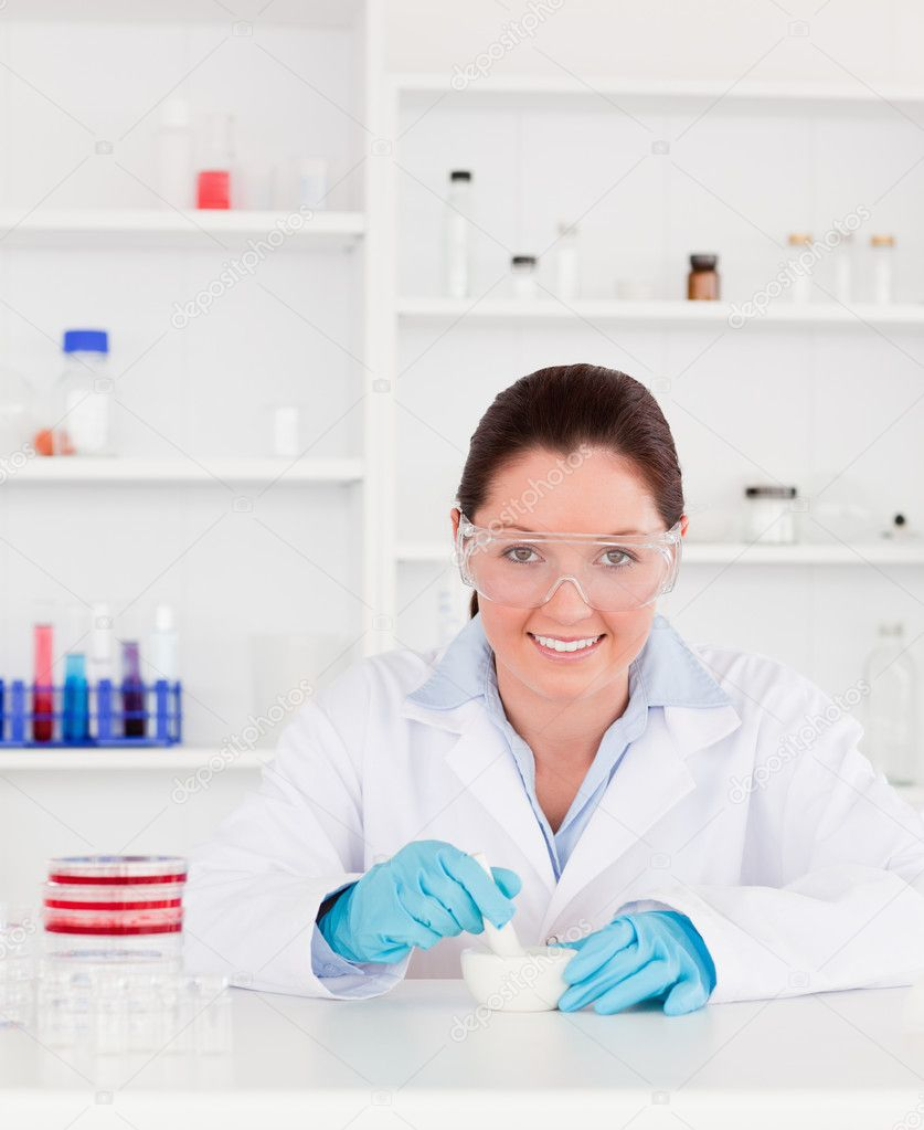 Smiling scientist preparing an experimentaion — Stock Photo #10600861