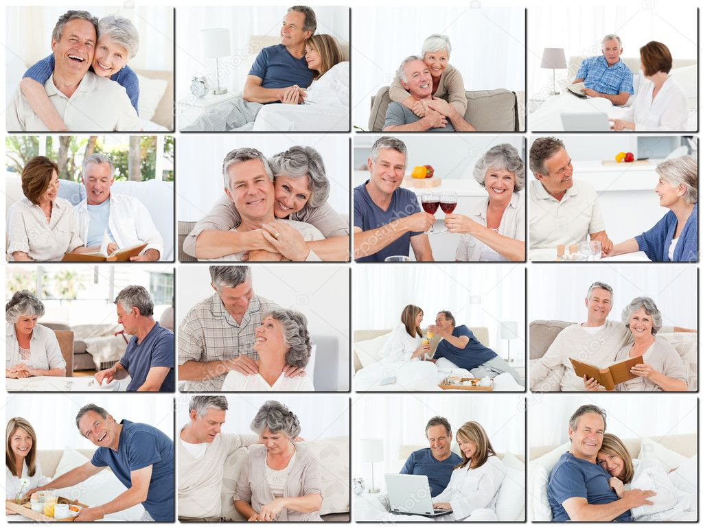 Collage of elderly couples hugging and relaxing while sitting on a sofa — Stock Photo #10601200