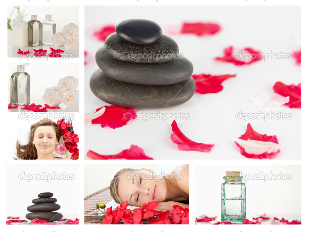 Collage of beautiful women relaxing while lying in a spa centre — Stock Photo #10601219