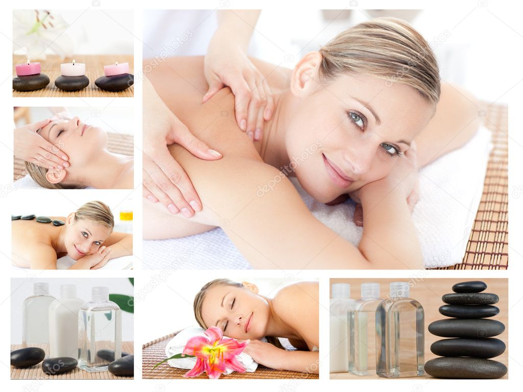 Collage of a beautiful blond woman receiving a massage in a spa centre — Stock Photo #10601221