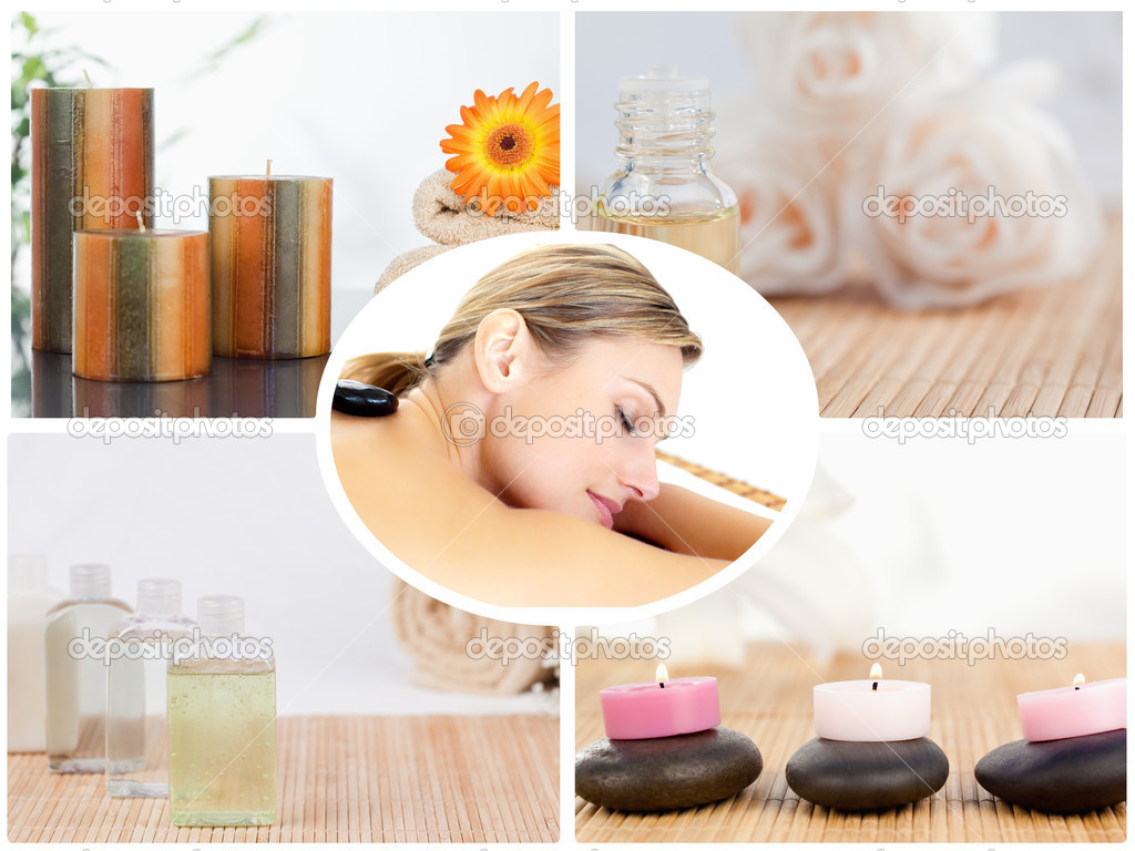 Collage of small bottles with candles and a woman in a spa centre — Stock Photo #10601236